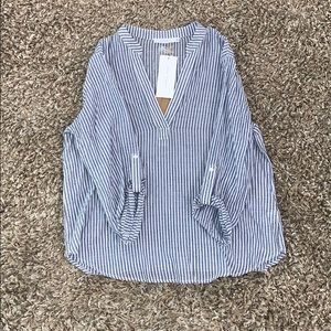 White and blue stripped blouse